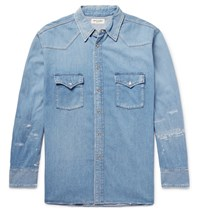 Saint Laurent Oversized Distressed Denim Western Shirt Blue