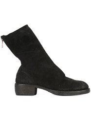 Guidi Reverse Back Zip Mid Boots Black