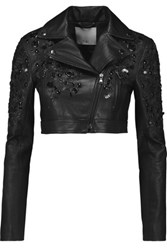 Tibi Lola Cropped Embellished Leather Jacket Black