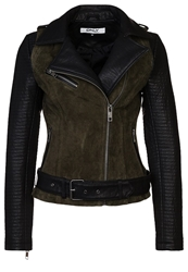 Only Brooklyn Leather Jacket Peat Dark Green
