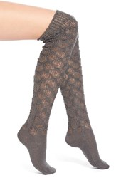 Women's Lemon 'Frosted' Crochet Over The Knee Socks Grey Peppercorn