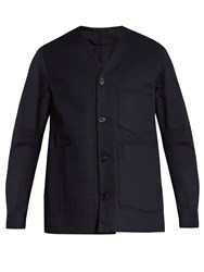 Acne Studios Method V Neck Cotton Jacket Navy
