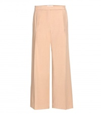 Carven Wide Leg Wool Blend Trousers Beige