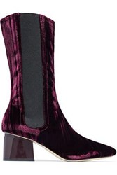 Sigerson Morrison Eartha Patent Leather Trimmed Velvet Boots Merlot