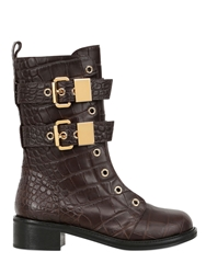 Giuseppe Zanotti 40Mm Croc Embossed Leather Combat Boots Brown
