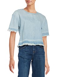 J Brand Dallas Frayed Denim Tee Faint