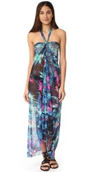 Fuzzi Floral Print Halter Long Dress Turchese