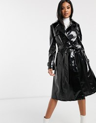 Helene Berman Double Breasted Patent Trench Coat Black