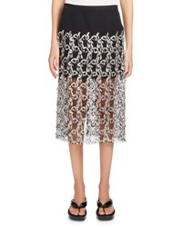 Dries Van Noten Sloane Embroidered Lace Skirt Silver
