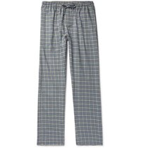 Zimmerli Checked Cotton And Wool Blend Flannel Pyjama Trousers Navy