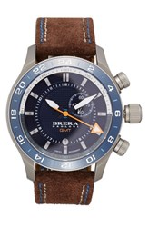 Men's Brera Orologi 'Eterno Gmt' Chronograph Leather Strap Watch 43Mm Brown Blue