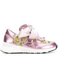 Casadei Ribbon Laced Sneakers Pink And Purple