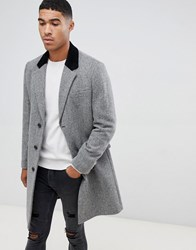 Asos Design Wool Mix Overcoat In Herringbone With Velvet Collar In Grey
