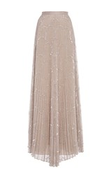 Alexis Teresa Pleated Sequin Maxi Skirt Nude