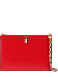 Thom Browne Small Leather Zip Clutch Red