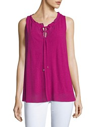 Ellen Tracy Shirred Sleeveless Top Orchid