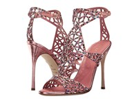 Sergio Rossi Tresor Baby Rose Crash Suede Strass High Heels Gold