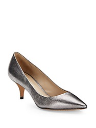 Kenneth Cole Metallic Leather Kitten Heel Pumps Silver