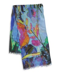 Fraas Watercolor Floral Scarf Blue