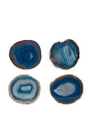 Aerin Set Of Four Gold Plated Agate Coasters Green Multi