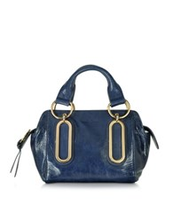 See By Chloe Paige Small Glazed Leather Handbag Midnight Blue