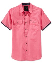 Guess Men's Carson Short Sleeve Military Shirt Rouge Red
