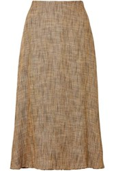 Theory Herringbone Tweed Midi Skirt Brown