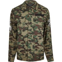 River Island Mens Green Camo Badge Jacket