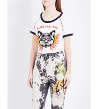 Gucci Boom Cat Cotton Jersey T Shirt Natural White Multi
