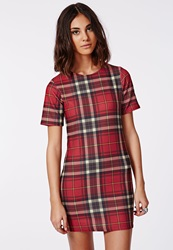 Missguided Zip Back Fitted Tartan Shift Dress Red Check