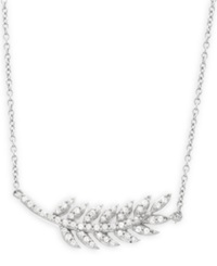 Wrapped Diamond Leaf Pendant Necklace In 10K White Gold 1 4 Ct. T.W.