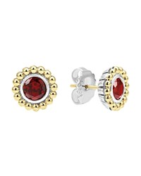 Lagos Sterling Silver And 18K Gold Stud Earrings With Garnet