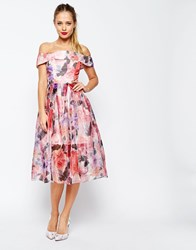 Asos Salon Floral Organza Off The Shoulder Bardot Midi Prom Dress Pink