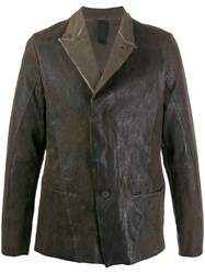 Transit Aged Look Leather Jacket Brown