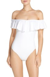 Trina Turk Women's Off The Shoulder One Piece Swimsuit White