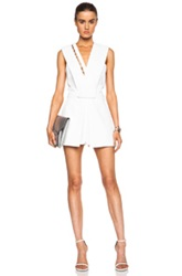 Thierry Mugler Mugler Fitted Cady Acetate Blend Romper In White