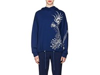 Dries Van Noten Feather Print French Terry Hoodie Blue