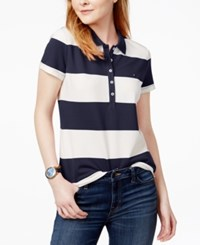 Tommy Hilfiger Rugby Striped Polo Shirt Only At Macy's Navy