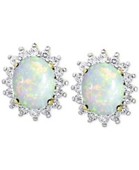 Victoria Townsend Opal 1 3 8 Ct. T.W. And White Topaz 9 10 Ct. T.W. Stud Earrings In 18K Gold Plated Sterling Silver