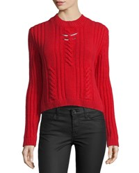 Thierry Mugler Cable Knit Sweater W Metallic Bar Details Red