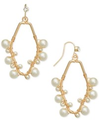 Inc International Concepts Robert Rose For Gold Tone Imitation Pearl Wire Wrap Drop Earrings Only At Macy's