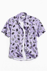 Urban Outfitters Uo Vhs Print Short Sleeve Button Down Shirt Purple