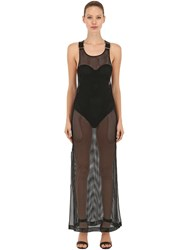 Bordelle Grid Mesh Maxi Dress Black