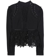 Self Portrait Lace And Chiffon Blouse Black