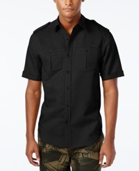 Sean John Men's Big And Tall Solid Short Sleeve Shirt Pm Black