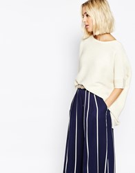 Paisie Ribbed Short Jumper With Batwing Sleeve Cream