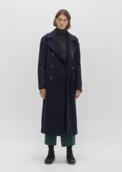 Y's Lambs Wool Double Breasted Coat Navy