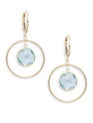 Saks Fifth Avenue Blue Topaz And 14K Yellow Gold Drop Earrings Gold Blue