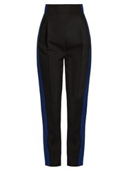 Haider Ackermann Orbai Side Stripe High Waisted Wool Trousers Black Blue