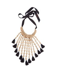 Figue Sina Shell And Tassel Necklace Navy